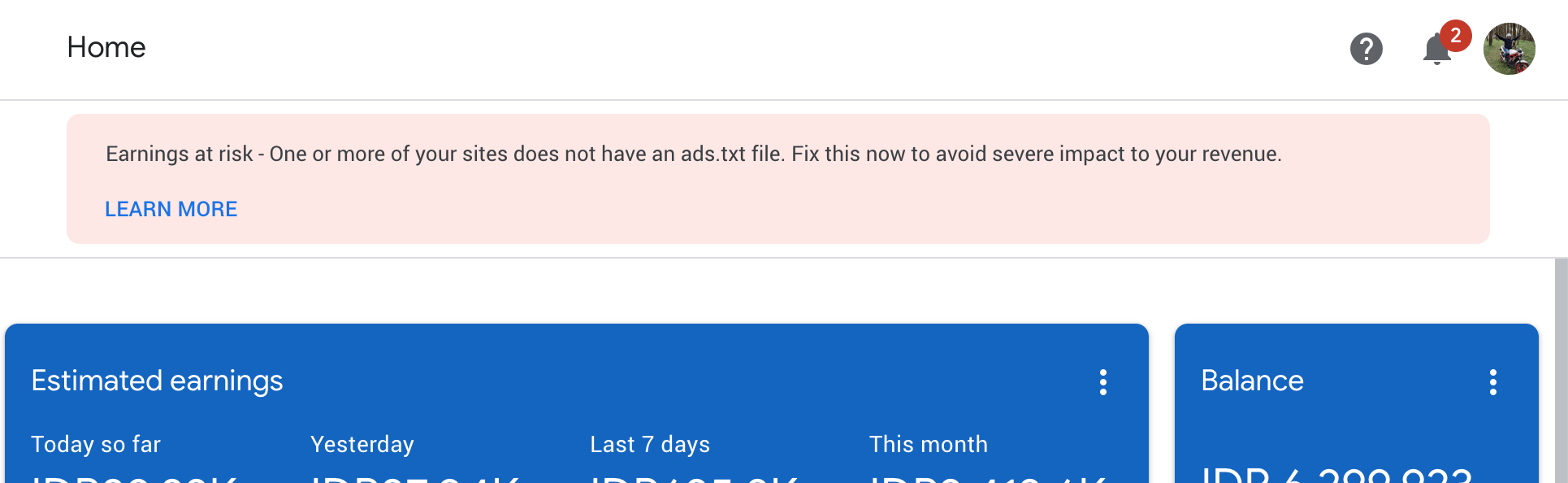 Google AdSense Error Warning ads.txt